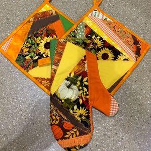 Fall Pumpkin and Sunflower Potholder Set